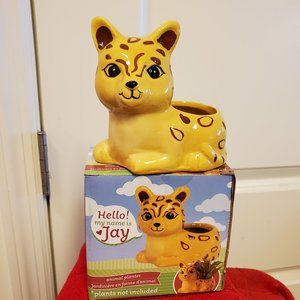 "Ceramic Animal Planter, Jay the Jaguar Pot 4"""